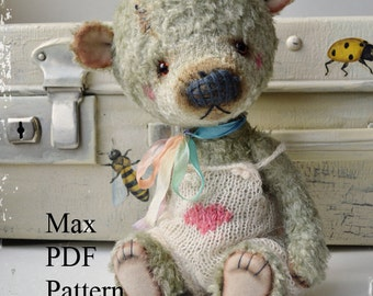 PDF Teddy bear pattern, 8 inches (20 cm) - Max