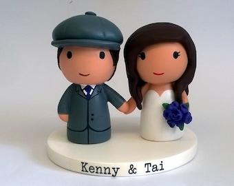 Cute bride groom wedding topper with newsboy hat