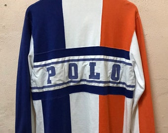 52087da3854ba Vintage Polo Ralph Lauren Colourway Spellout Big Logo Stripe Rugby Polo  Shirt   Large Size