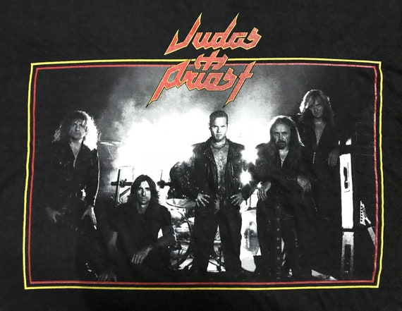 90 s vintage Judas Priest « Tour du du du monde de Jugulator 1998 » Tshirt / britannique groupe de Heavy Metal 8401a6