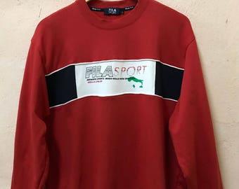 Vintage Fila Sport Spellout Logo Sweatshirt Sweater / Large Size