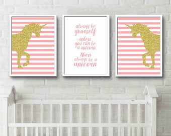 Always be a unicorn quote little girls room decor posters pink and gold
