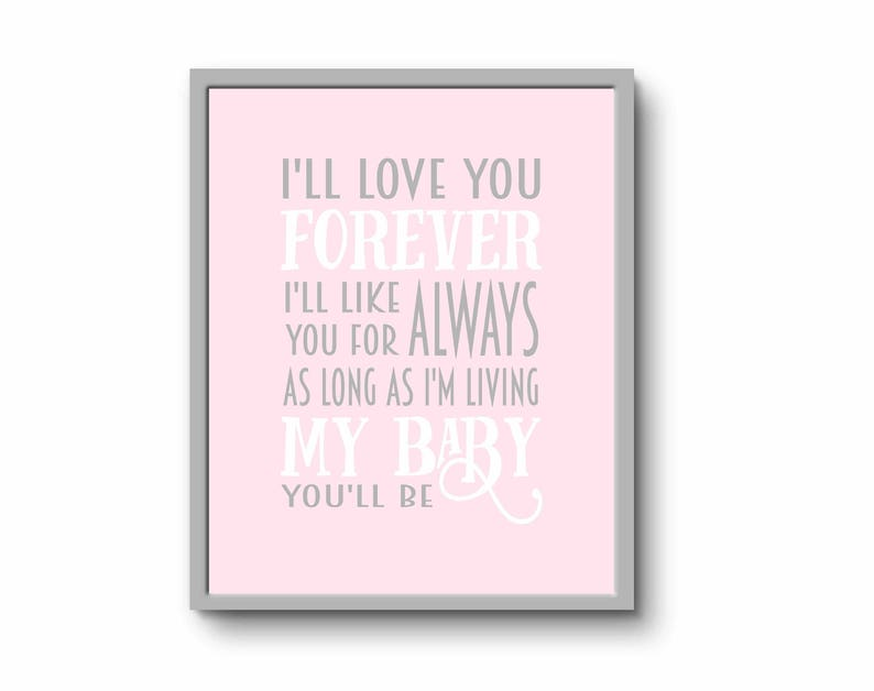 Ill Love You Forever Quote Print Pink Nursery Wall Art New Etsy