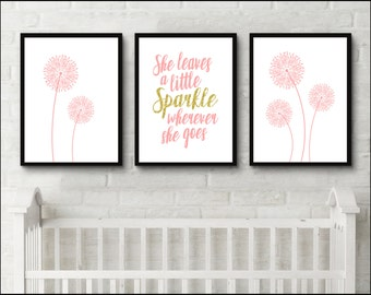 Dandelion print dorm decor set She leaves a little sparkle wherever she goes pink nursery set of 3 prints gold glitter Wall Art