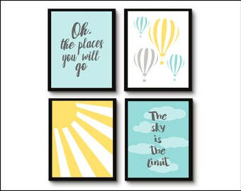 Hot Air Balloon Nursery, Oh the places you will go, The sky is the limit sunshine, Nursery Quad, set of 4 8X10, Choose your colors