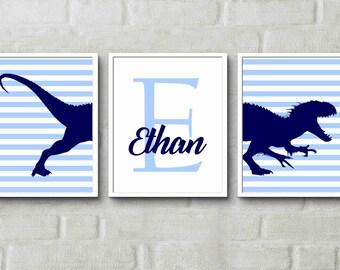 Baby Name Print Blue boys room decor dinosaur art - Personalised Print