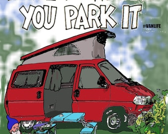 """sticker camperfan """"home is where you park it"""""""