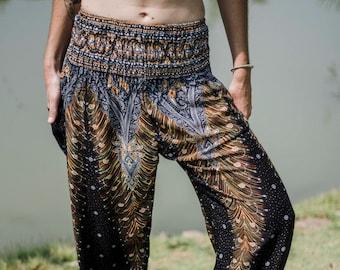 9eb983901 Black and Gold Peacock Pants // Thailand Style Pants // Harem Pants // Yoga  Pants // Festival Clothes // Bohemian Clothes // Boho Pants