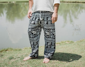 Black Elephant pants // Hippie Pants // Boho Pants // Thai Pants // Elephant Pants // Festival Pants // Music Festival Pants // Men pants