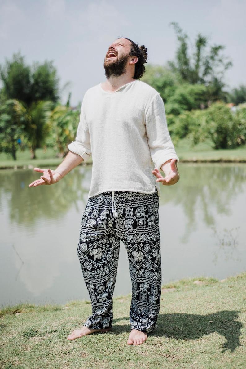 Black Elephant pants  Hippie Pants  Boho Pants  Thai Pants  Elephant Pants  Festival Pants  Music Festival Pants  Men pants