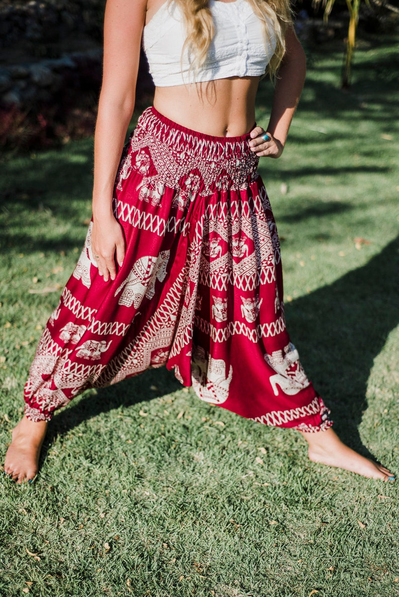 Red Elephant Pants  Elephant Pants  Thai Elephant Pants  Harem Pants  Thai Harem Pants  Harem Pants  Yoga Pants  Yoga