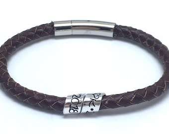 Mens woven braided leather bracelet with secret hidden message, personalised dad bracelet with kids names