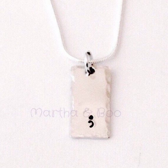 Pendant Health Rectangle Hand Stamped Silver-Plated Semicolon Necklace