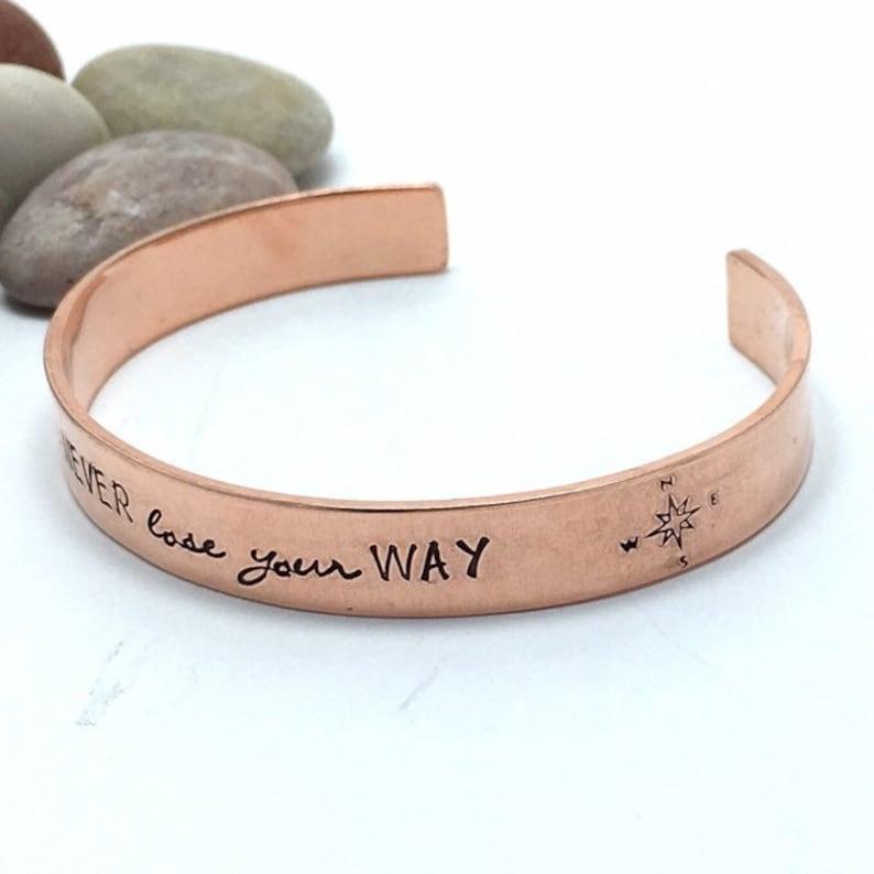 Handstamped 9mm copper cuff bracelet 7th anniversary gift