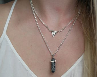 Limited Edition double layered chevron charm and dark stone pendant silver necklace handmade by Charmed Ivy