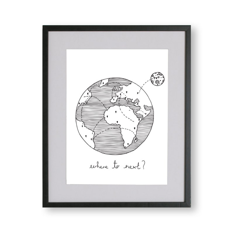 Where to Next Illustrated Unframed Print Limited Edition A4 image 0