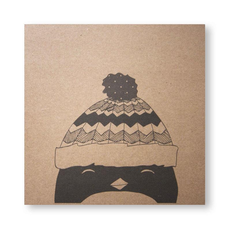 Penguin Card Paul's Hat Penguin Christmas Handmade image 0