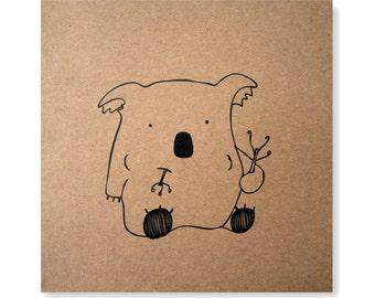 Munch Munch Munch Illustrated Card, Koala Card, Handmade Greeting Card