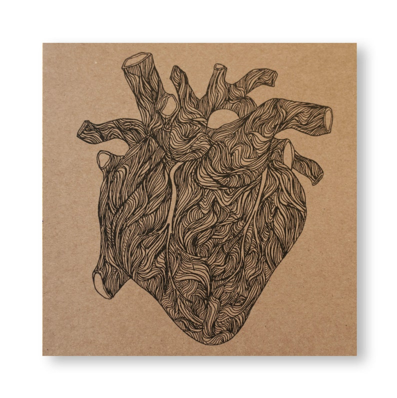 Heart Illustrated Card Valentines Day Anatomical Heart Love image 0