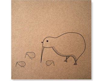 Kiwi Bird Handmade Illustrated Card, Mother Kiwi, New Zealand Native Bird, Cute Kiwi Illustration, Mothers Day