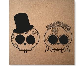 Day of the Dead Card, Wedding Card, Engagement Card, Goth Wedding Card, Flower Skull Card, Anniversary Card, Goth Card, Valentines Card