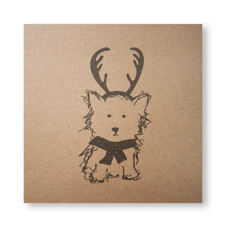 Christmas Dog Illustrated Card Antlers and a Scarf Cute image 0