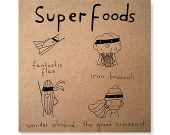 Superfood Illustrated Greeting Card, Handmade Healthy Eating Super Food Card, Super Hero Card, Croissant Birthday Card