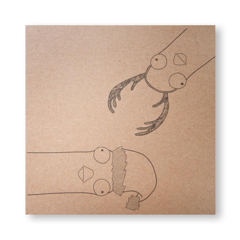 Christmas Seagulls Card Handmade Illustrated Xmas Greeting image 0