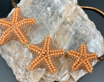 Triple Coral Starfish Statement Necklace