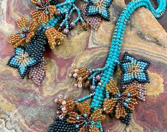 Turquoise mini flower lariat necklace