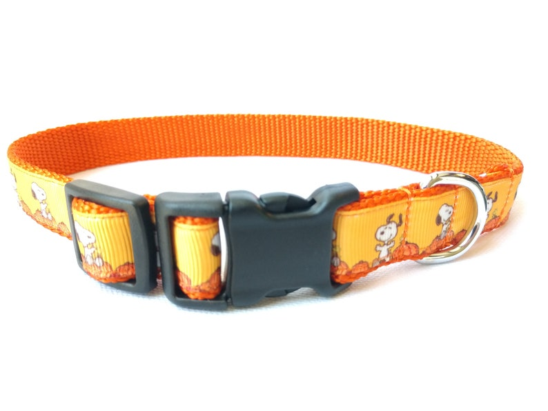 Snoopy Pumpkin Dog Collar 1 Width Adjustable Length