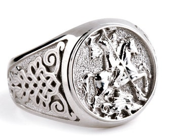 Silver Sovereign Ring, Man Silver Ring, Sterling Silver 925, Signet Ring, Man Signet Ring, Saint George Ring, Medieval Ring, Husband Gift