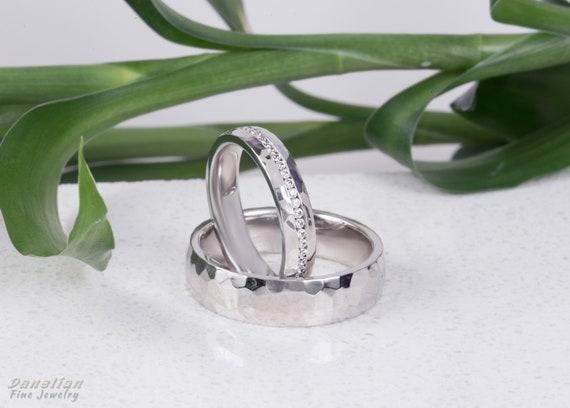 Hammered Wedding Band Woman Diamond Band Wedding Ring Set Etsy