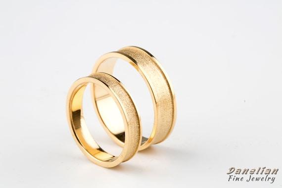 Elegant Wedding Band Wedding Band Set Marriage Gold Rings Etsy