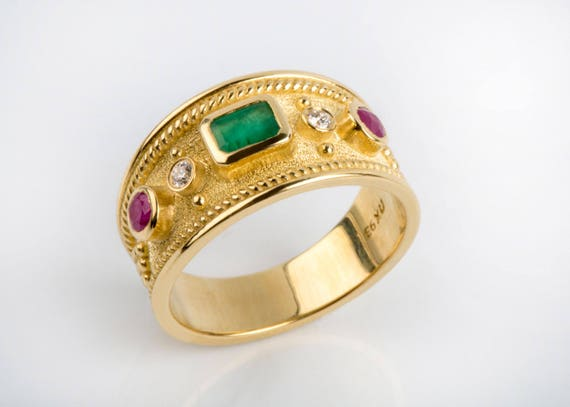 Vintage Style Gemstone Ring Mothers Stone Ring Mother Ring,Antique Rings Antique Style Rings Byzantine Etruscan Greek Jewelry Emeralds