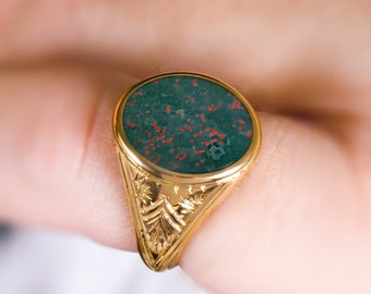 Signet Ring Men Gold, Bloodstone Ring Men, Solid Gold Signet, Bague Homme, Husband Gift, Vintage Signet Ring, 10k - 18k, Statement Ring men