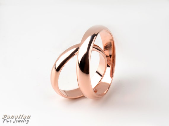 His And Her Bands Simple Wedding Bands Custom For Each 18k Etsy
