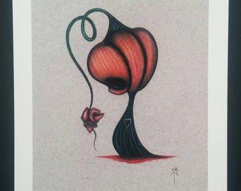 Sad Pumpkin - limited edition giclee fine art print