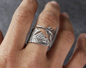 Anillo pluma, hecho en plata 925ml. Anillo plata, macizo. Unisex