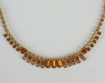 Pretty Vintage Amber Paste Glass Necklace - 1950's Art Deco Style Citrine Coloured Paste Rhinestone Necklace Gold Tone Costume Jewellery