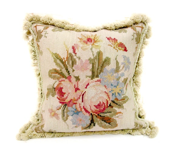 Astonishing French Needlepoint Pillow Beige Floral Butterfly Decorative Pillow Case High End Wool Cushion Cover 14X14 Inzonedesignstudio Interior Chair Design Inzonedesignstudiocom