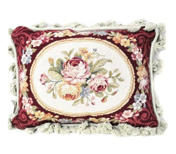 "14/""x14/"" Handmade Needlepoint Petite Piont Pillow Cushion floral Silk Fringe"