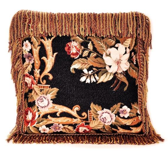Remarkable Unique Design French Needlepoint Pillow Handmade Custom Black Rose Pillow Case Wool Cushion Cover With Giraffe Print Backing 20X20 Inzonedesignstudio Interior Chair Design Inzonedesignstudiocom
