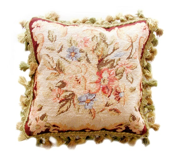 """18/"""" x 18/"""" Handmade Black Wool Needlepoint Roses Cushion Cover Pillow Case"""