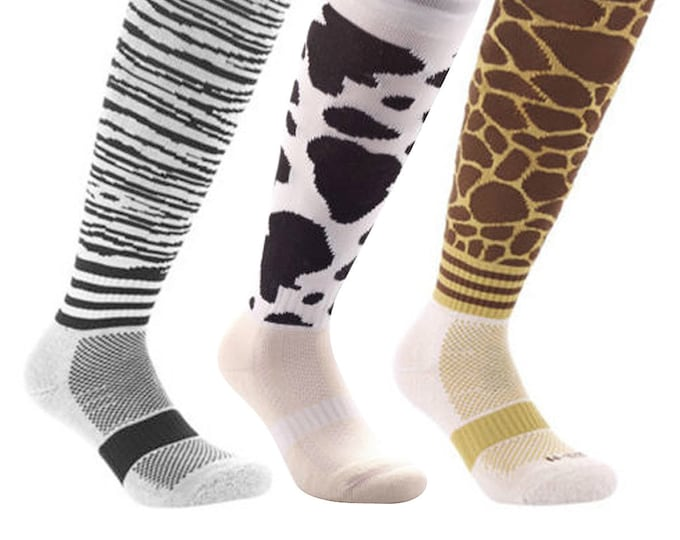 Samson® Funky Socks Knee High Animal Zebra Cow Giraffe Sport Football Rugby Soccer Hockey