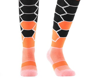 Samson® Hexagonal Funky Socks Sport Knee High Sport Football Rugby Soccer