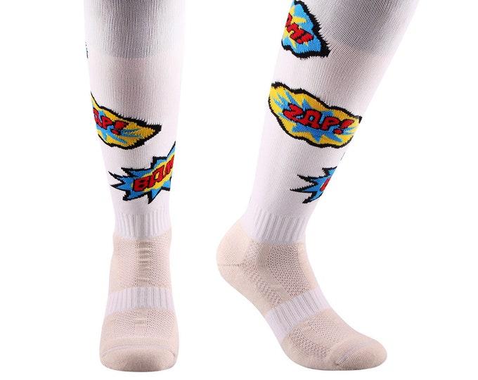 Samson® Comic ZAP! BOOM! Funky Socks Knee High Sport Football Rugby Soccer