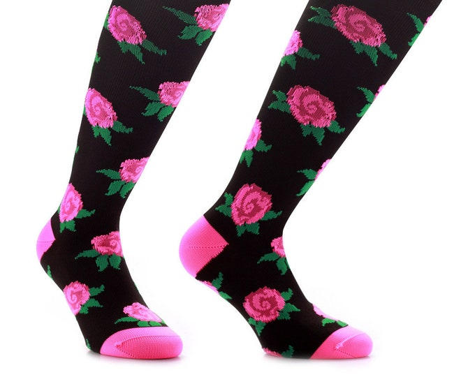 Samson® Retro Flowers Funky Socks Sport Floral Fashion Knee High Sport Football Rugby Soccer