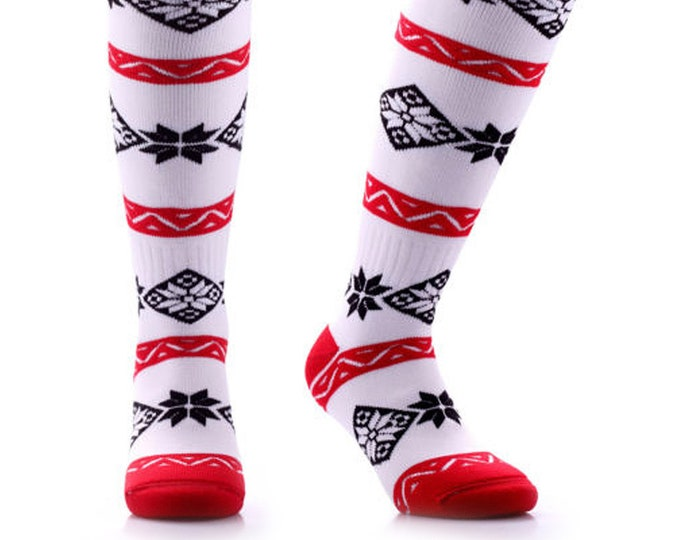 Samson® Christmas Pattern Socks Knee High Thick Ski Snow Stockings Festive Seasonal Winter Thermal Cosy Warm
