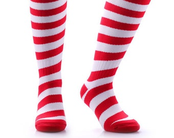 Samson® Candy Cane Christmas Socks Knee High Thick Stockings Festive Seasonal Winter Thermal Cosy Warm